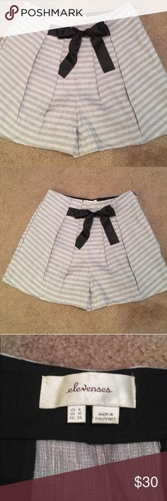 Elevenses High Waisted Pleated Shorts Excellent Used Condition.  Smoke free home.  Such unique & pretty dress shorts.  16 inch waist.  Fits on waist, not hips. Anthropologie Shorts