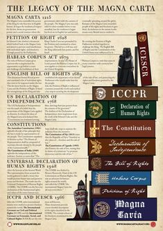 Magna Carta and Human Rights. This poster and video series traces the evolution from human rights from the Magna Carta in 1215 to the United Nations today. Government Lessons, Teaching Government, Law Notes, Carta Magna, Teaching History, Teaching Biology, British History, American History, European History