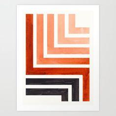 Burnt Sienna Mid Century Modern Watercolor Colorful Ancient Aztec Art Pattern Minimalist Geometric P Art Print by enshape - Modern Art Minimalist Painting, Minimalist Art, Minimalist Pattern, Mid Century Modern Art, Mid Century Art, Modern Artwork, Modern Wall Art, Modern Art Prints, Ancient Aztecs