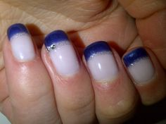 Blue tips again with silver and diamante highlight