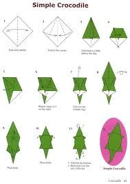 Dover Publications ~ simple crocodile origami- for Hunter Chat Origami, Origami Cat, Origami Fish, Paper Crafts Origami, Mobil Origami, Origami Mobile, Origami Simple, Useful Origami, Origami Instructions