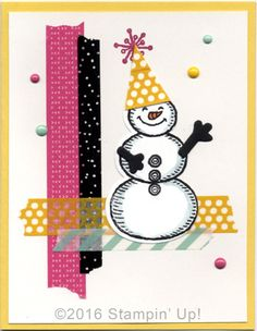 Stampin' Up! Cards - Snow Place Stamp Set, Snow Friends Framelits Dies, It's My Party Designer Washi Tape and It's My Party Enamel Dots