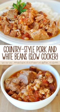 This simple slow cooker country-style pork and white beans meal is unbelievably hearty and delicious! Pork Stew Meat, Pork Soup, Stew Meat Recipes, Crock Pot Soup, Crock Pot Cooking, Fall Crockpot Recipes, Slow Cooker Recipes, Healthy Recipes, Crockpot Dishes