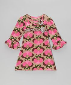 Take a look at this Brown Mod Bouquet Long Sleeve Dress - Infant, Toddler & Girls by Corky's Kids on #zulily today!
