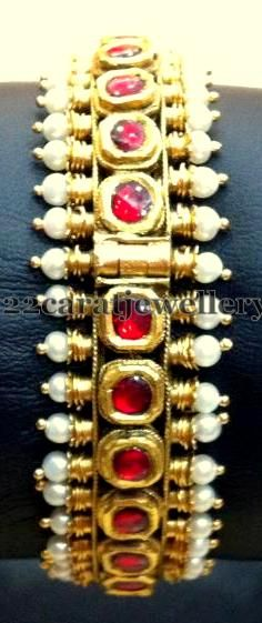 Pearls and Rubies Kada | Jewellery Designs