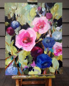 (Update: sold) Day Happy Memorial Day everyone! Today's painting for sale is on a gesso board panel, a new surface for me. Acrylic Flowers, Abstract Flowers, Acrylic Art, Paintings I Love, Paintings For Sale, Beautiful Paintings, Arte Floral, Flower Art, Flower Canvas
