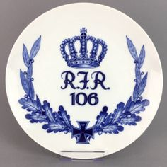 Regimentsteller: Königlich Sächsisches Reserve-Infanterie-Regiment 106, Dresden, 1914-1918, Meissen Porzellan, sehr gut.