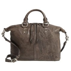 Women's Frye Veronica Sheepskin Leather Satchel ($308) ❤ liked on Polyvore featuring bags, handbags, charcoal, leather handbags, handbag satchel, frye handbags, leather purses and brown satchel handbag