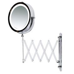 """Kenley Wall Mounted Magnifying Makeup Mirror with LED Light - Extending Vanity Shaving Lighted 7"""" Two-Sided Mirror with 3x Magnification"""