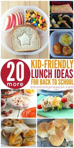 20 Kid-Friendly Lunch Ideas perfect for back to school lunch boxes.  Easy and delicious recipes that even your pickiest eater will enjoy!