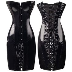 FeelinGirl 2018 Black Long Leather Corset Sexy Gothic Corset Dress Shiny PVC Leather Boned Bustier top Lace Clubwear Corselet -B Red Corset Dress, Gothic Corset Dresses, Corset Sexy, Latex Corset, Overbust Corset, Pvc Corset, Black Corset, Dress Lace, Latex Dress