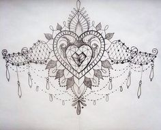Love heart and lace sternum tattoo design