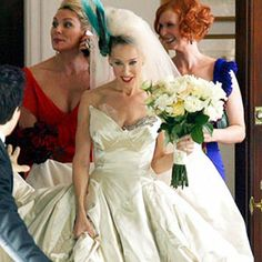 """Carrie Bradshaw's """"Sex and The City"""" wedding dress was designed by Vivienne Westwood. The dress was part of the designer's Wake Up Cave Girl collection and made to order."""