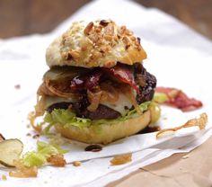 Bacon Onion Burger with Sesame Bun
