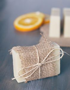 DIY: orange + tea tree soap with recipe.  Pretty wrapped with burlap
