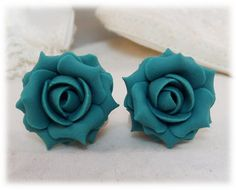 Hand sculpted teal green rose stud earrings on 304 stainless steel posts or metal clip ons. Light Rose, Light Teal, Green Rose, Teal Green, Clip On Earrings, Stud Earrings, Teal Jewelry, Studs, Stud Earring
