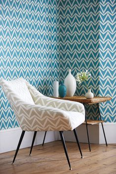 Scion Wabi Sabi collection, Dhurrie wallpaper fabric #interior #blue #turquoise