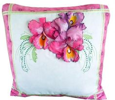 Embroider these exquisite 3D Organza Orchid flowers in soft lavender and magenta onto  a cushion. Edge with cerise pink fabric for an eye catching effect.