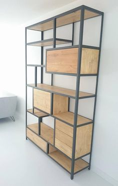 Oak wood door cupboards new ideas Shelf Furniture, Metal Furniture, Industrial Furniture, Custom Furniture, Furniture Design, Industrial Storage, Luxury Furniture, Furniture Makeover, Bedroom Furniture