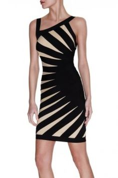 Herve Leger Aimee Contrast Banded Dress ~~~Graduation?