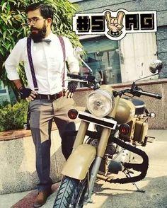 Meet @meneenja - the gentleman rider #bikes #royalenfieldbullet #suspenders #bikers #menswear #menonroposo  #swag