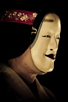 Noh mask, the 3 single lines of hair at the front of the hairline indicate a woman of enormous beauty