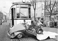 Deadly crashed by tram, vintage photo of 1963, by BugBus.net