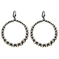 Graduated Navajo Bead Hoop Earrings at Maverick Western Wear