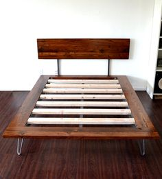 Platform Bed And Headboard Queen Size On Hairpin by CasanovaHome