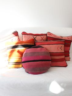 Moroccan Pillow, Candy Stripes - Babasouk