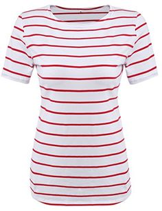 Special Offer: $11.98 amazon.com Short Sleeve Stripes T-Shirt Blouse Juniors summer casual tee tops with stripes print Women slim fitted summer shirts tops Short sleeve 100% cotton t-shirts tee tops for women summerStriped short sleeve shirts for womenWomen's Round Neck Black and...