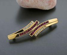 4464 ELEGANTE Broche de brillante rubí oro amarillo 750 Valor