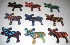 Set of 9 Batik Moose Iron-on Cotton Fabric Appliques for Quilts Apparel Etc…