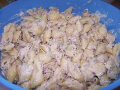 This is my favorite tuna and pasta salad! You can use any type of pasta you like, but I prefer the shells. Cook time is chill time.