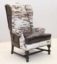 Old Hickory Tannery Stedman Wing Chair Western Accent Chairs   Printed Hair  On Hide In Cream