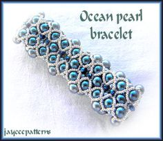 right angle weave (RAW) using 6mm pearls, 3mm pearls, 15/o seed beads and 3mm crystals.