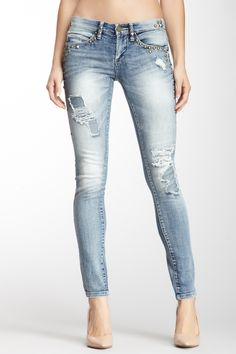 Destructed Stud Skinny Jean