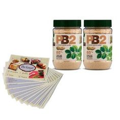 Powdered Peanut Butter - 85% Less Fat and Calories - 2 pack - 6.5Oz Each - Free Bonus PB2 Recipe Cards Included