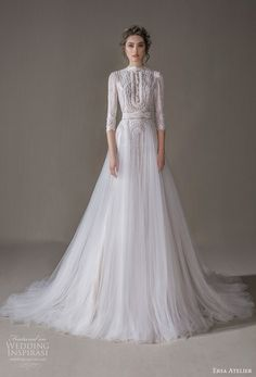 ersa atelier spring 2020 bridal three quarter sleeves high neck heavily embellished bodice tulle skirt romantic modest a line wedding dress chapel train mv -- Ersa Atelier 2020 Wedding Dresses Wedding Dress With Pockets, Fit And Flare Wedding Dress, Classic Wedding Dress, Gorgeous Wedding Dress, Boho Wedding Dress, Boho Dress, Dress Pockets, Princess Wedding Dresses, Best Wedding Dresses