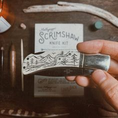 "DESIRÉE MAE STUDIO on Instagram: ""Realized I forgot to post the finished artwork of the knife I etched a custom design into for @kevinjohnsonstudio 's bday gift. 🌲⛰🌵Carving…"" Step By Step Instructions, Initials, Custom Design, How To Apply, Carving, Kit, Studio, Artwork, Instagram"