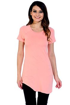 920ae03245e Jubilee Couture Womens Solid ScoopNeck Short Sleeve Tunic Shirttail Shirt  Top made in USA XLargePeach -- Click on the image for additional details.