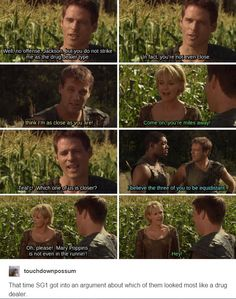 Only in SG-1 would there be an argument about who looks the best drug lord on an alien planet when infiltrating an alien-human smugglers group! XD