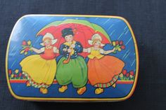 Vintage Sharp's Blue Bird Toffee Tin Dutch Children by PeggysTrove