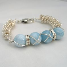 Wire Wrapped Bracelet - Aqua Gemstones £12.95 by Adien Crafts - beautiful summer colour