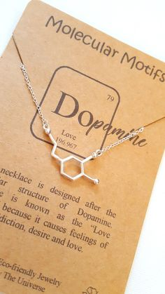 Dopamine Love Addiction Desire Passion Molecule Science Chemistry Valentine Bridal Anniversary Gift Necklace by MolecularMotifs on Etsy