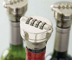 Keep your most valued wines and spirits safe from thirsty thieves with the combination wine bottle lock. Designed to fit most wine and liquor bottles, this stainless steel device ensures the bottle remains sealed until Wine And Liquor, Liquor Bottles, Gadgets And Gizmos, Cool Gadgets, Wine Gadgets, Combination Locks, Take My Money, In Vino Veritas, Kitchen Gadgets