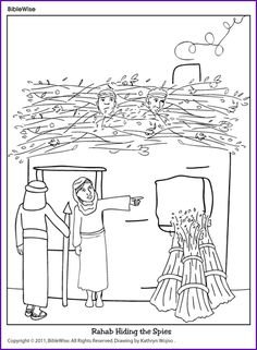 Coloring (Rahab Hiding the Spies) - Kids Korner - BibleWise