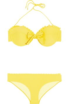 Miu Miu|Scalloped underwired bow bikini|NET-A-PORTER.COM