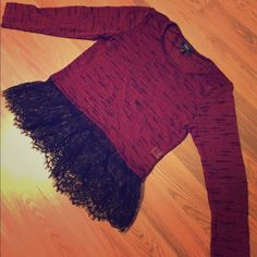 Light weight sweater with lace hem Burgundy red sweater with black lace bottom part. Status by Chenault Sweaters Crew & Scoop Necks