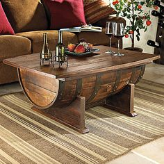 Handmade Vintage Oak Whiskey Barrel Coffee Table at Wine Enthusiast - $775.00 - Jeff & Cory - I can order this for you on sale for wedding gift